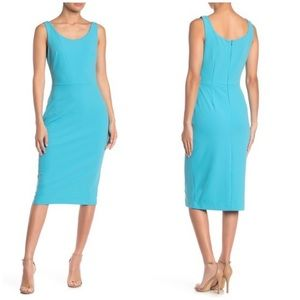 NWT Betsey Johnson Crepe Midi Dress scuba blue 4